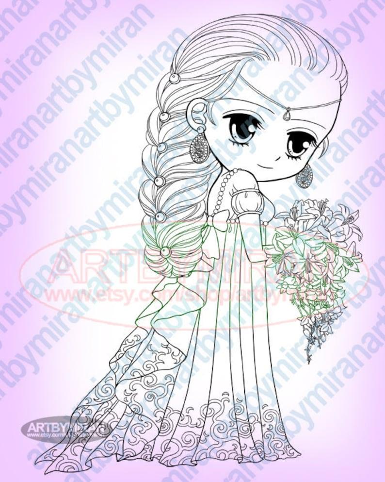 Princess Digital Stamps Big Eye Doll Coloring Page Coloring Etsy