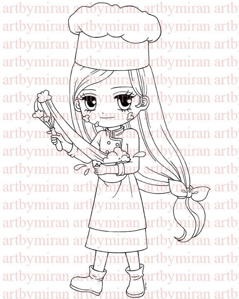 Digital Stamp-Chef Charlotte108 Digi Stamp  Printable image 0