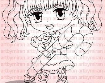 Sello digital - Candy Joy (#271), Navidad Digi Stamp, página para colorear, para imprimir línea arte para tarjeta y fuente de arte