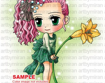 Digital Stamp - Jacque with Lily, Digi Stamp, Coloring page, Printable Line art for Card and Craft Supply