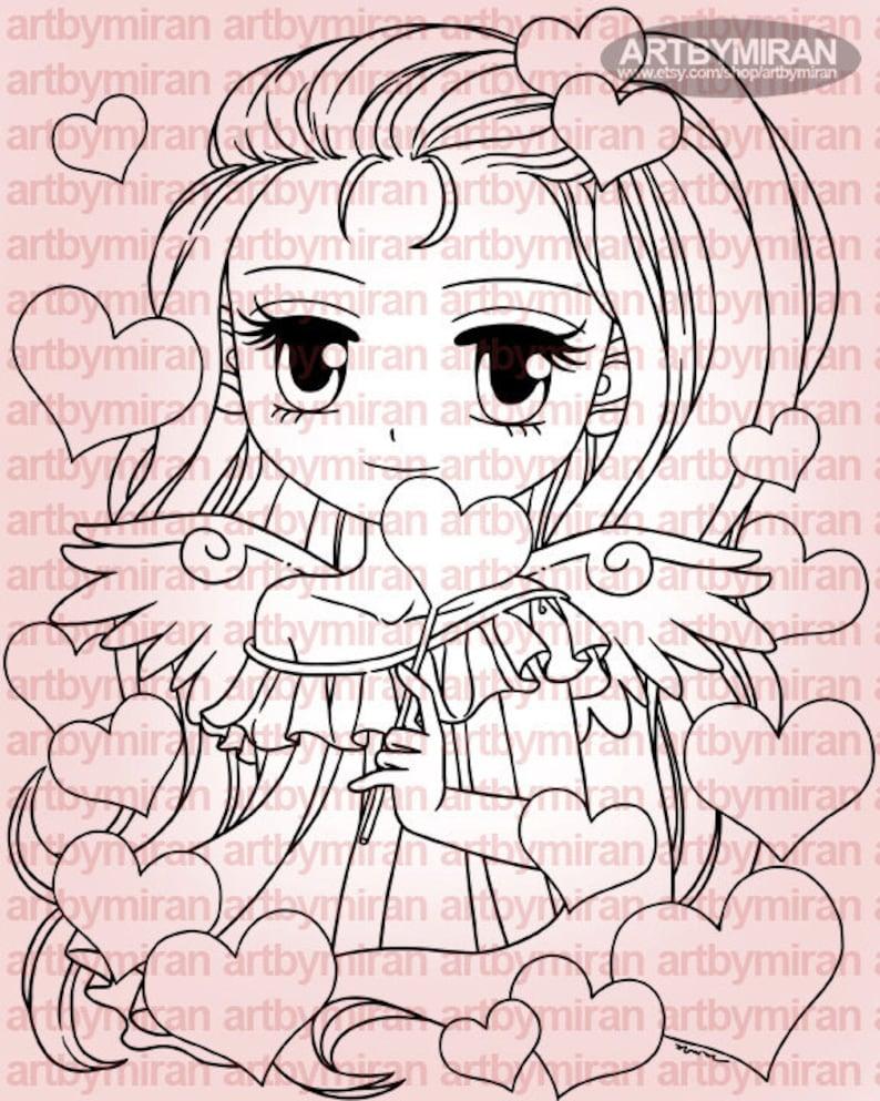 Digital Stamp  Angel of Hearts 278 Digi Stamp Anime image 0