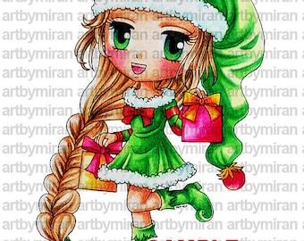 Sello digital - Elfie Elizabeth(#149), Navidad Digi Stamp, página, línea para imprimir arte de colorear para tarjeta y fuente de arte
