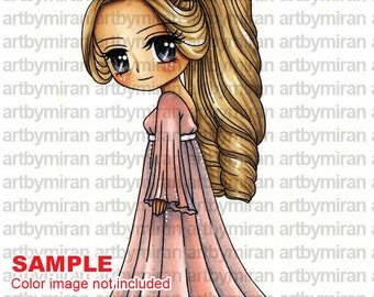 Digital Stamp - Olivia(#154), Digi Stamp, Coloring page, Printable Line art for Card and Craft Supply