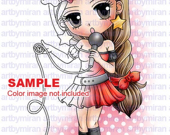 Digital Stamp-Pop Star Suzy(#119), Digi Stamp, Coloring page, Printable Line art for Card and Craft Supply