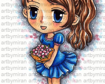 Digital Stamp - Chloe(#189), Digi Stamp, Coloring page, Printable Line art for Card and Craft Supply
