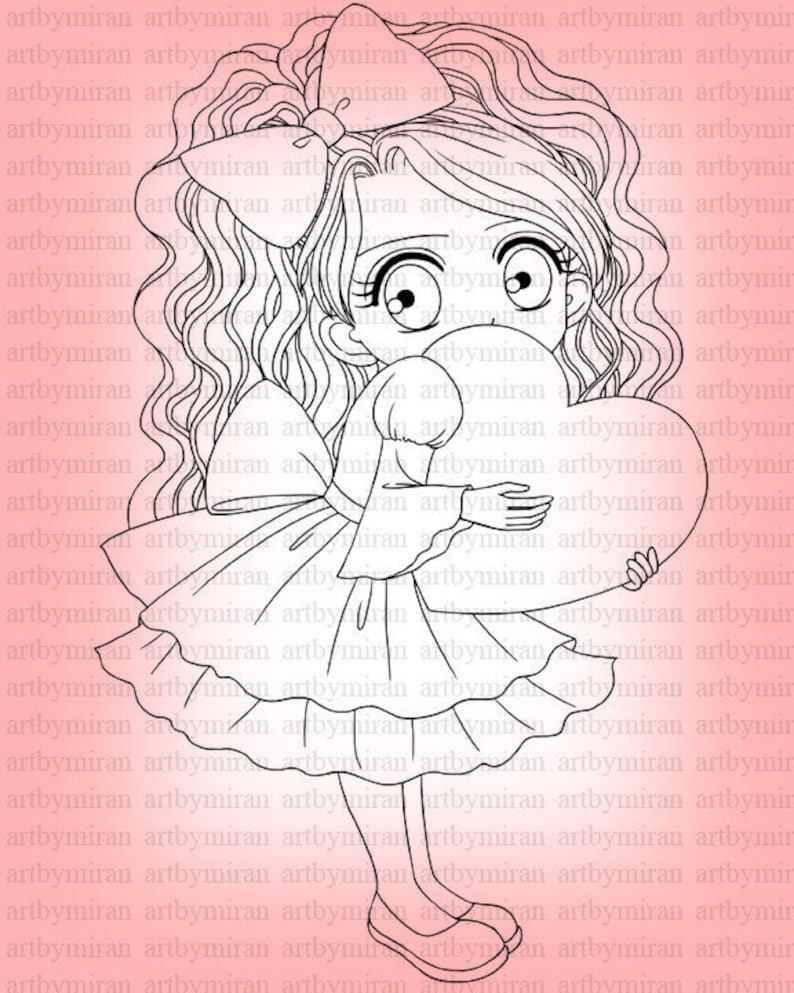 Valentine Digital Stamp24 Digi Stamp Cute Girl  Printable image 0