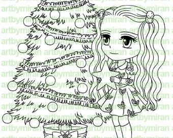 Digital Stamp - Star Light(#146), Christmas Digi Stamp, Coloring page, Printable Line art for Card and Craft Supply