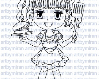 Digital Stamp - BBQ Laila(#215), Digi Stamp, Coloring page, Printable Line art for Card and Craft Supply