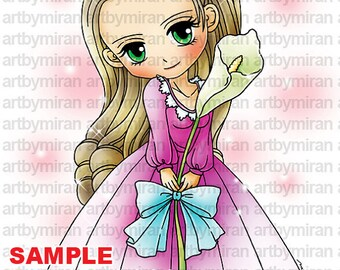 Digital Stamp - Calla(#194), Digi Stamp, Coloring page, Printable Line art for Card and Craft Supply