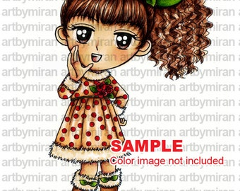 Digi Stamp-Hello, Big eyed Girl Coloring page, Digital Stamp, Printable Line art for Card and Craft Supplies, Art by Mi Ran Jung