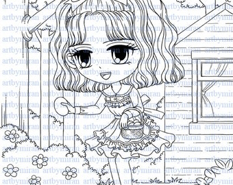 Digital Stamp-Easter Alice, Digi Stamp, Coloring page, Printable Line art for Card and Craft Supply, Art by Mi Ran Jung