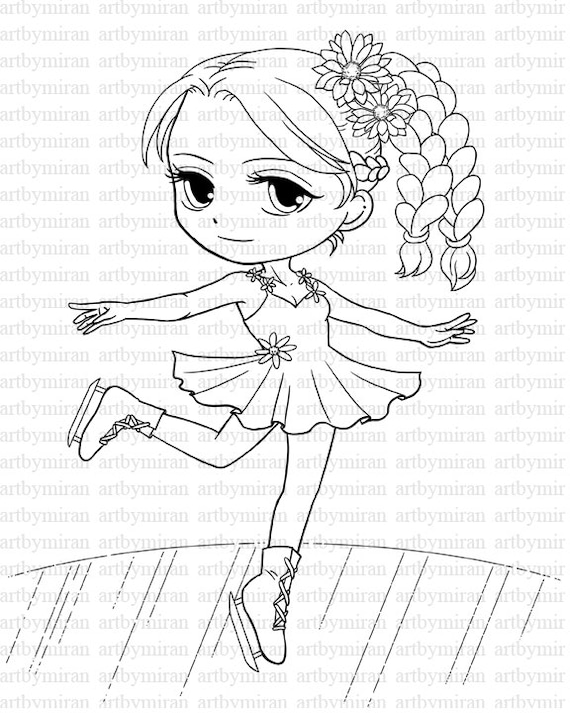 picture about Stamp Printable called Electronic Stamp-Skating Woman(#03), Wintertime Digi Stamp, Printable Line artwork for Card and Craft Shipping and delivery, Artwork via Mi Ran Jung