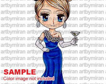Digital Stamp - Lady Penelope(#147),  Digi Stamp, Coloring page, Printable Line art for Card and Craft Supply