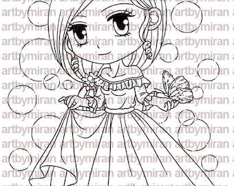 Digital Stamp - Rora and Butterfly(#208)