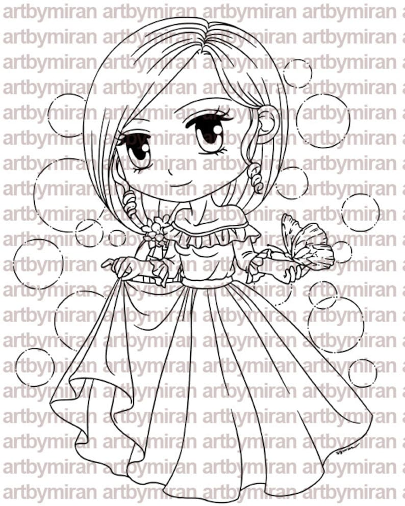 Digital Stamp  Rora and Butterfly208 Birthday Spring image 0