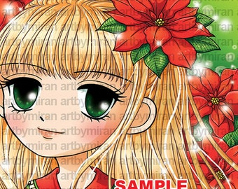 Digi Stamp, Poinsettia and girl illustration Coloring page, Instant Download Digital Stamp, Line art for Card and Craft, Art by Mi Ran Jung