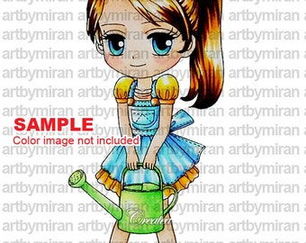 Digital Stamp-Little Garden Sally-Whitout Background, Digi Stamp, Coloring page, Printable Line art for Card and Craft Supply