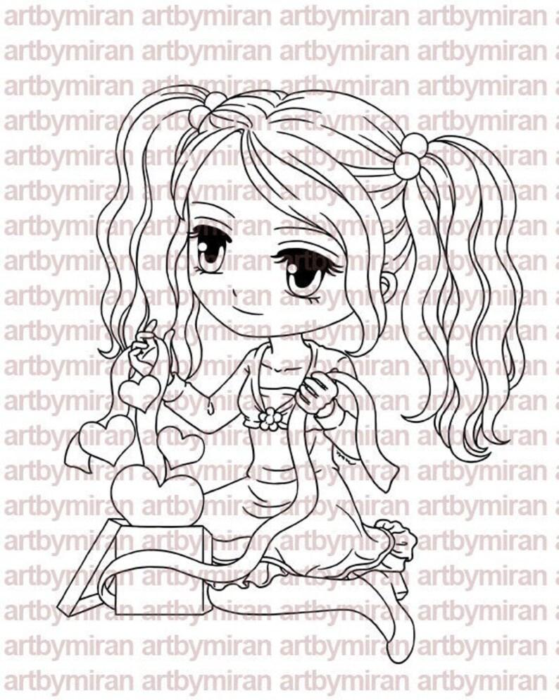 Digital Stamp  A Gift of Love174 Digi Stamp Anime image 0