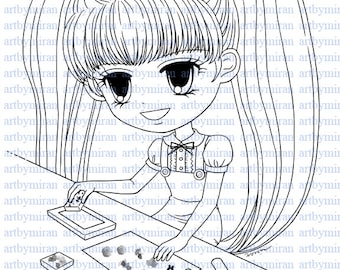Digital Stamp-Brianna Stamping, Coloring page, Digi Stamp, Printable Line art for Card and Craft Supply, Art by Mi Ran Jung