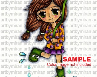 Digital Stamp-April's Rain(#9), Coloring page, Instant Download Cute Digi Stamp, Printable Line art for Card and Craft Supply