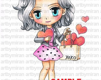 Digital Stamp - All of My Heart(#170), Digi Stamp, Coloring page, Printable Line art for Card and Craft Supply