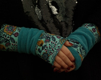 Gauntlets Arm warmers Turning cuffs both sides petrol or turquoise flowered Polar Fleece Patchwork cotton jersey hand warmer soft warm cuddly