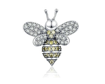 56514a986 Queen Bee BEADS 925 Sterling Silver Luxurious CZ Charms beads for Original  Women Silver Snake Bracelet & Bangle Necklace