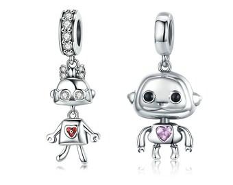 e86141e6e Authentic 925 Sterling Silver Childhood Robot Charm Pendant Fit Pandora  Charms Bracelets /Necklaces
