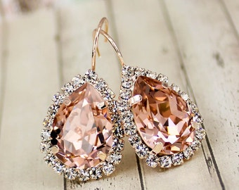 Morganite Earring Light Pink Blush Earrings Soft Pink Bridesmaid Jewelry Rose Gold Morganite Bridal Jewelry Vintage Rose Pink Bridesmaid