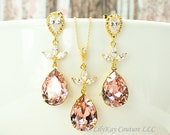 Gold Bridal Earrings Blush Bridal Earring Blush Bridesmaid Jewelry Pink and Gold Earrings Morganite Bridal Earrings Pink and Gold Earrings