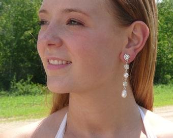 Long Bridal Earrings Chunky Pearl Earrings Wedding Jewelry Crystal Bridal Earrings Bridal Jewelry Bridesmaid Jewelry Crystal Bridal Jewelry