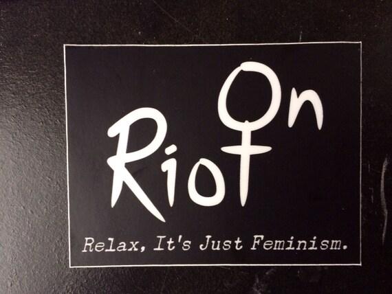 Riot Auf Logo Und Slogan Aufkleber Feministische Riot Grrrl