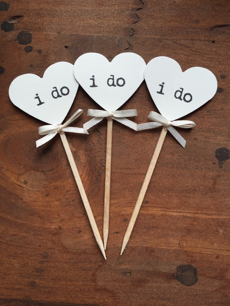 Heart I Do Cupcake Toppers  12  Rustic Wedding Decor  image 0
