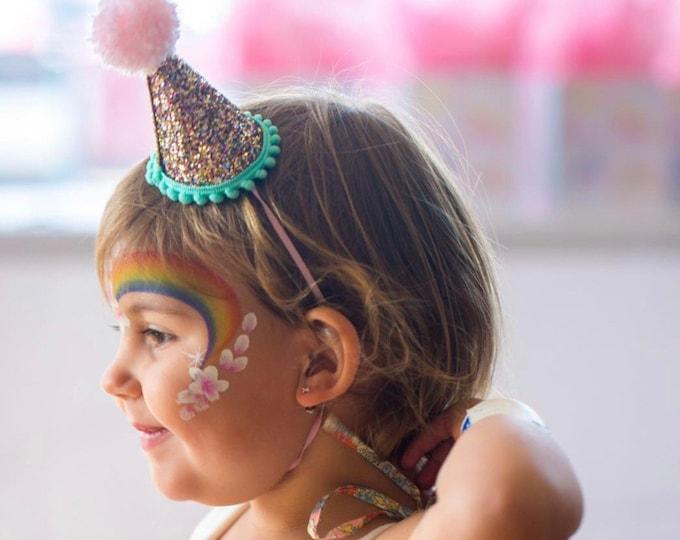 Mini Glittery Birthday Party Hat || Birthday, 2nd birthday || 1st birthday || Baby Birthday || Aqua and Pink ||  Party Hat || Ready to Ship
