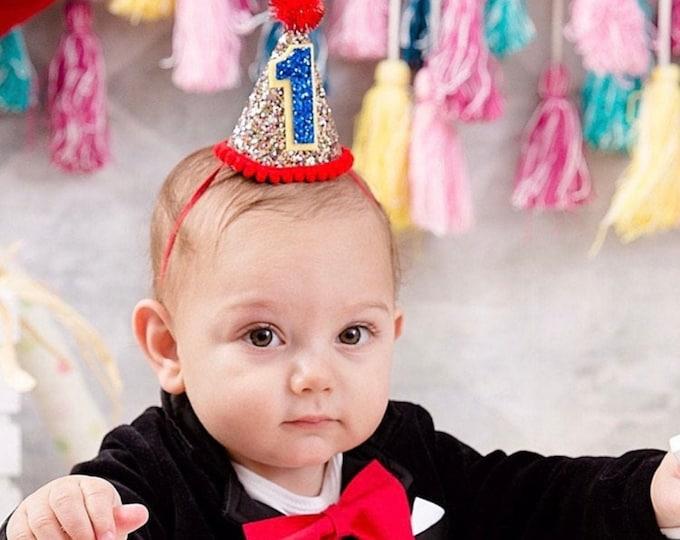 Circus Theme Party Hat || Mini Glittery Birthday Party Hat || Birthday || Cake Smash || 1st Birthday || Baby Birthday || Ready to Ship,