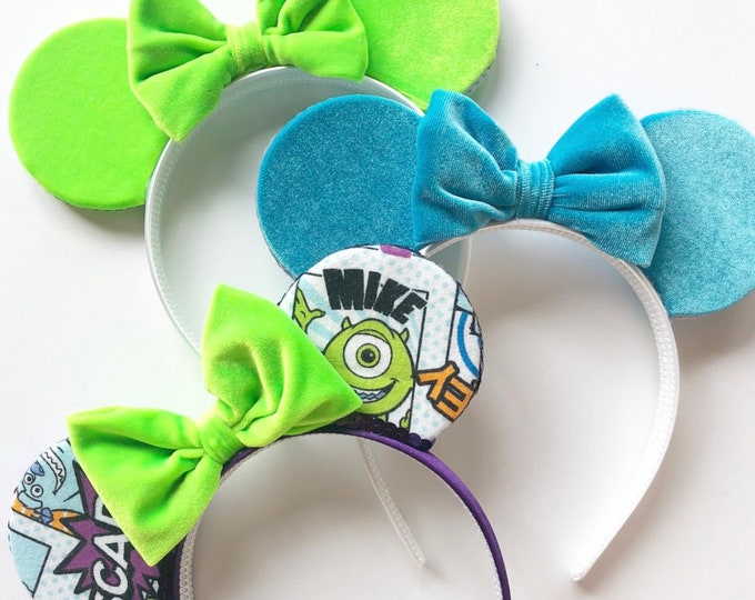 Monsters Inc Minnie Mouse Ears || Velvet ||  Mouse Ears || Mouse Ears || Mouse Ears || Monsters Inc Mouse Ears
