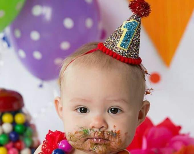 Mini Glittery Circus Birthday Party Hat | Cake Smash | First Birthday Party | 2nd Birthday | Ready to Ship
