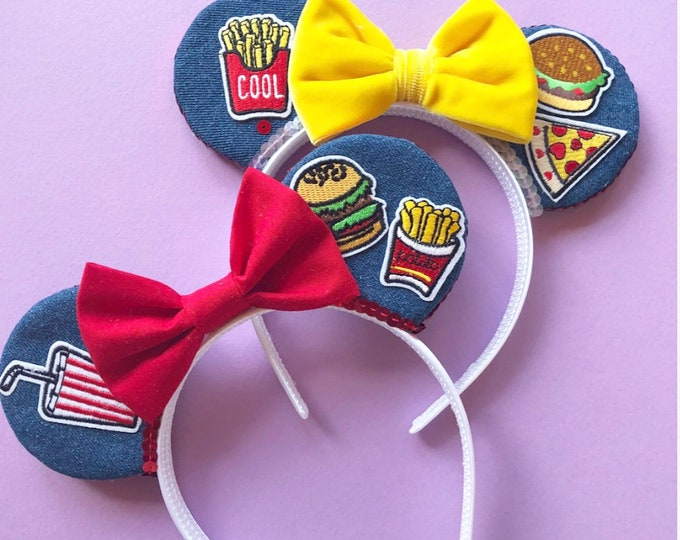 Minnie Mouse Ears || Denim Mouse Ears ||  Denim Patch Mouse Ears || Mouse Ears || Mouse Ears || Mouse Ears