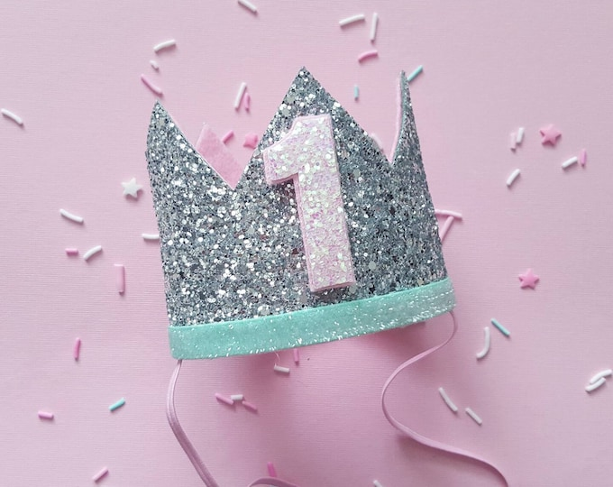 Birthday Crown || Pink and Gold Birthday || Pink and Mint || Silver Crown || Birthday Girl || First Birthday || Baby Crown || Birthday Girl