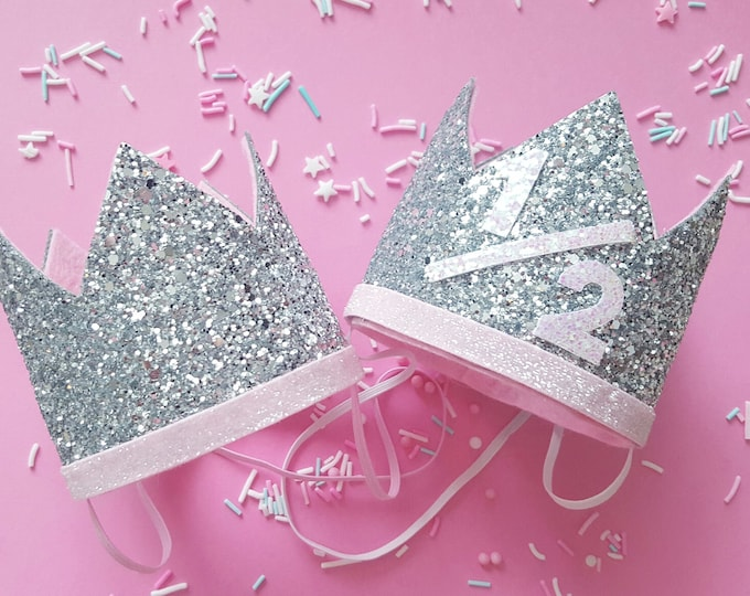 Glittery Birthday Crown | Birthday Crown | Baby Birthday | Birthday Girl | Baby Birthday | Pink and Silver Party Crown | Ready to Ship
