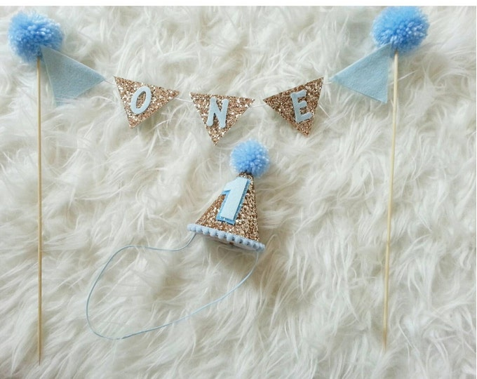 Boy Cake Bunting Flag Banner and Mini Blue Party Hat Set || Cake Smash || 1st Birthday Hat