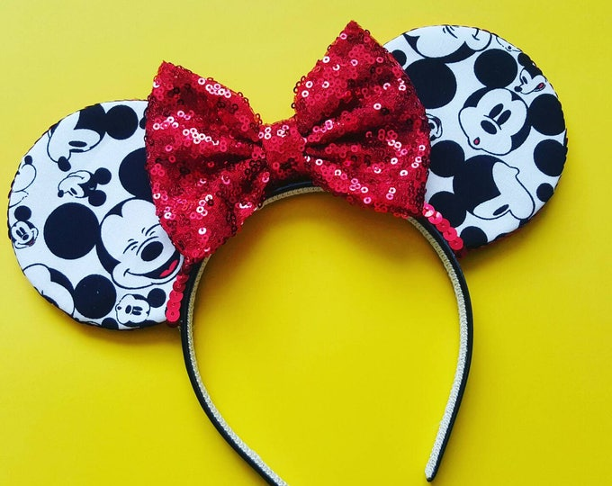 Mickey Mouse Fabric Ears  ||  Ears || Mouse Ears Headband ||  Mouse Ears || Sparkle Mouse Ears ||