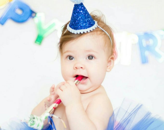 Mini Glittery Birthday Party Hat | Birthday | Cake Smash | Royal Blue Party Hat | 1st Birthday | Baby Birthday | Ready to Ship