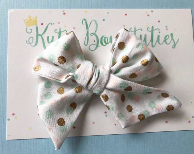 Polka DotBow Clip or Headband || Hand Tied Bow || Hand tied Bow || Handtied || Large Bow || Polka Dot Bow || Mint and Gold
