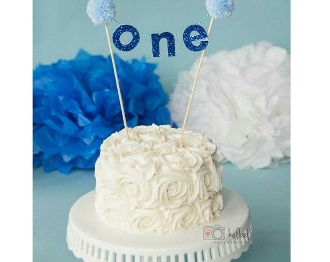 "Royal Blue  ""ONE"" CAKE Banner | Birthday Banner | Cake Topper | Cake Smash | Cake Smash Topper"