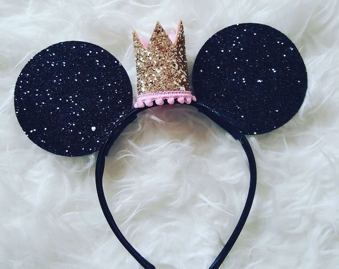 Glittery Princess Mouse Ears |  Minnie Mouse Ears Headband |  Mouse Birthday | Headband |  Ears | Mouse Ears