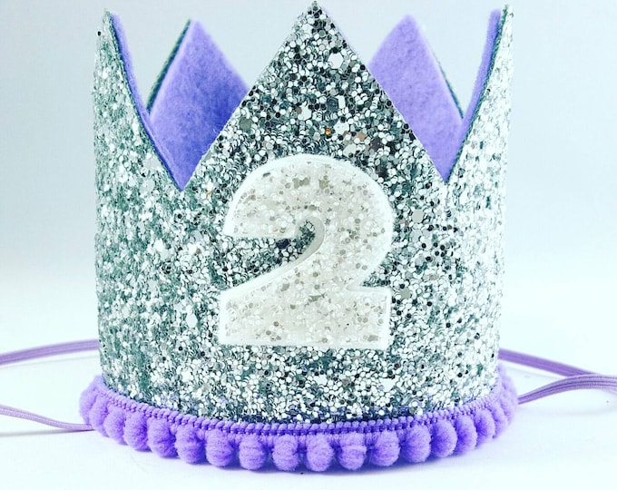 Birthday Crown || Lilac and Silver Birthday || purple || Silver Crown || Birthday Girl || 2nd Birthday || Party Crown ||  Birthday Hat