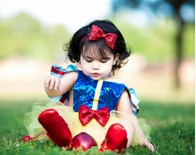 Snow White Red Glittery Red Bow Headband | Headband | Birthday | Cake Smash | 1st Birthday | Baby Girl Birthday  | Christmas Headband