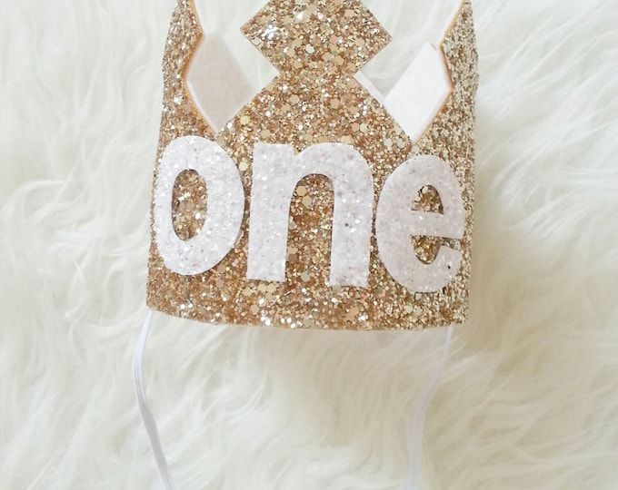 Gold and white Glittery Birthday Crown   Birthday Girl Crown   Cake Smash   1st Birthday   21st Birthday   Baby Birthday   Ready to Ship