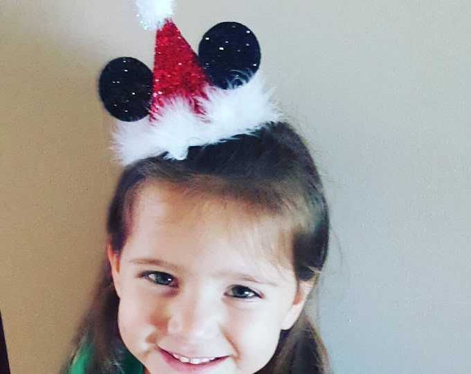 Mini Mickey Mouse Santa Hat, Birthday Party Hat First Birthday, baby, Birthday, cake smash,  1st birthday, baby girl birthday, birthday